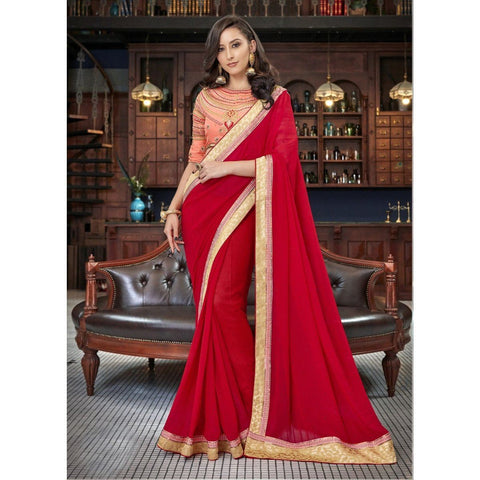 Triveni Faux Georgette Red Festival Wear Border Worked Contemporary Sarees