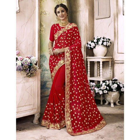 Triveni Faux Georgette Red Festival Wear Embroidered Traditional Sarees