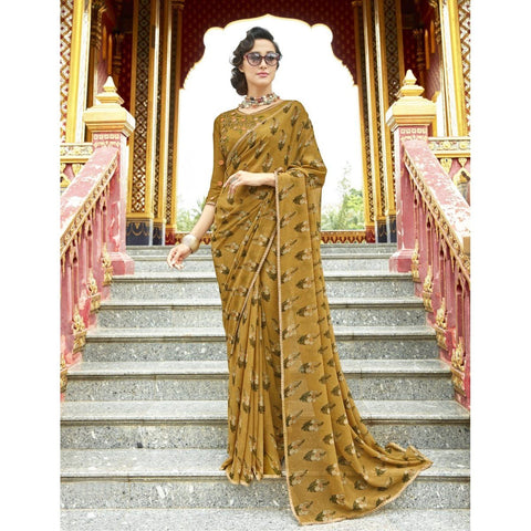 Triveni Pure Georgette Beige Officewear Printed Traditional Sarees