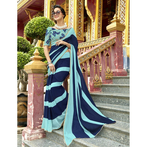 Triveni Pure Georgette Blue Officewear Printed Traditional Sarees