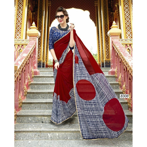Triveni Pure Georgette Maroon Officewear Printed Traditional Sarees