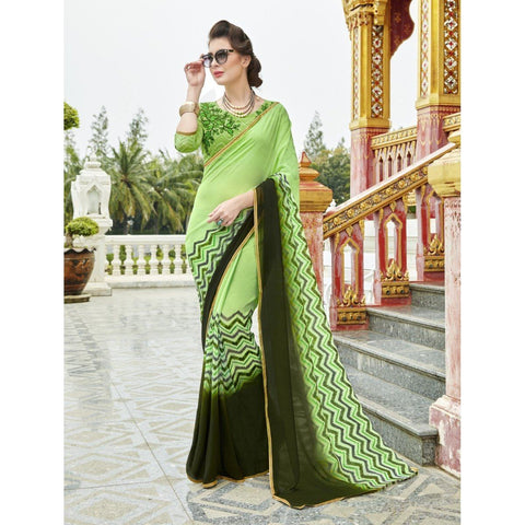 Triveni Pure Georgette Green Officewear Printed Traditional Sarees