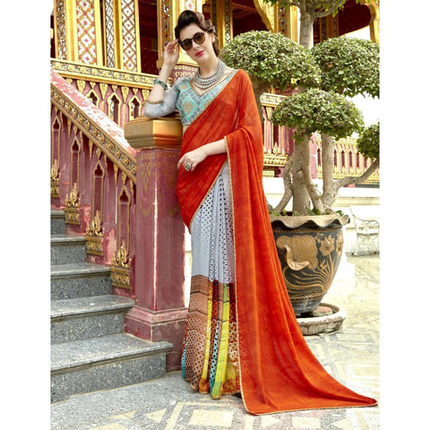 Triveni Pure Georgette Orange Officewear Printed Half n Half Sarees