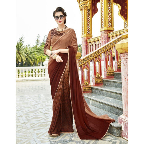Triveni Pure Georgette Brown Officewear Printed Traditional Sarees