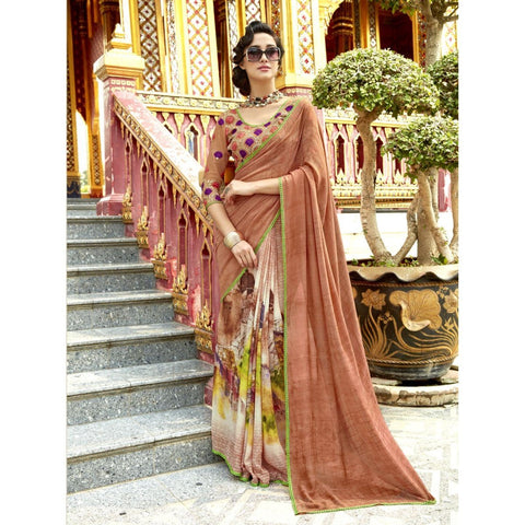 Triveni Pure Georgette Orange Officewear Printed Traditional Sarees