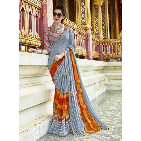 Triveni Pure Georgette Grey Officewear Printed Traditional Sarees