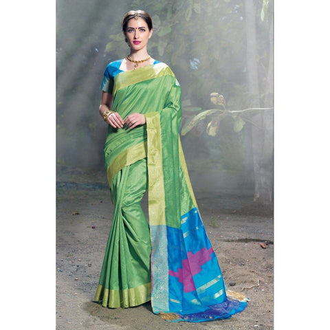 Triveni Silk Green Festival Wear Woven Traditional Sarees