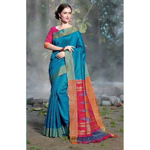 Triveni Silk Blue Festival Wear Woven Traditional Sarees