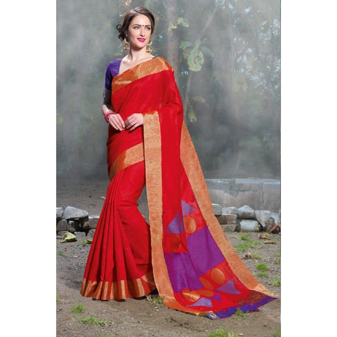 Triveni Silk Red Festival Wear Woven Traditional Sarees