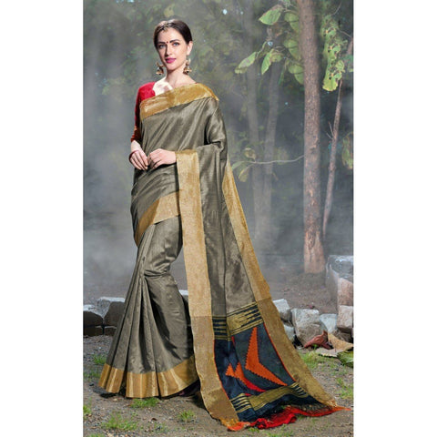 Triveni Silk Grey Festival Wear Woven Traditional Sarees