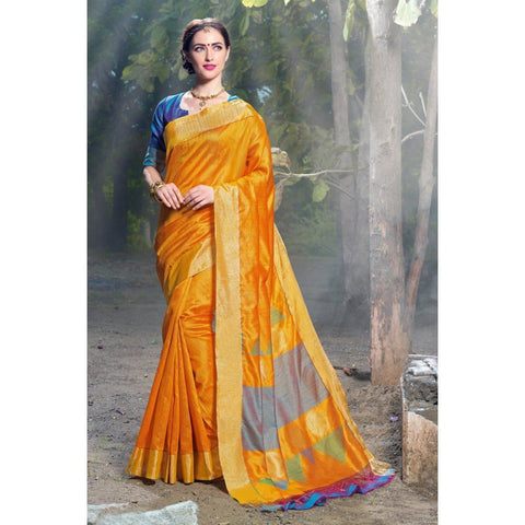 Triveni Silk Yellow Festival Wear Woven Traditional Sarees