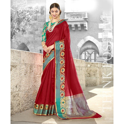 Red Festival Wear Traditional Sarees