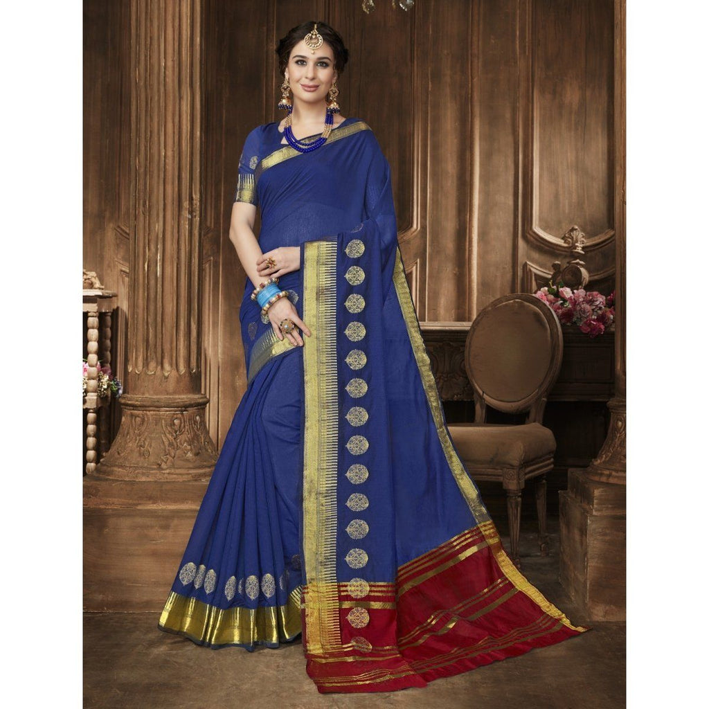Cotton Blue Festival Wear Printed Sarees