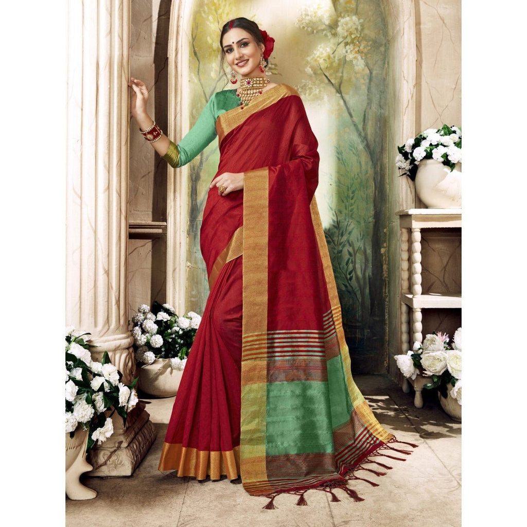Art Silk Red Festival Wear Sarees