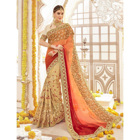 Triveni Pure Georgette Beige Wedding Embroidered Traditional Sarees