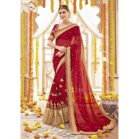 Triveni Pure Georgette Red Wedding Embroidered Traditional Sarees
