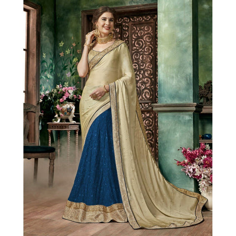 Triveni Chiffon Blue Festival Wear Embroidered Half n Half Lehenga Saree