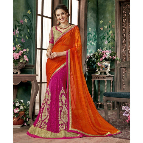 Triveni Chiffon Orange Festival Wear Embroidered Half n Half Lehenga Saree