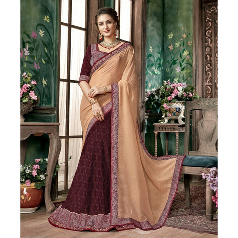 Triveni Chiffon Brown Festival Wear Embroidered Half n Half Lehenga Saree