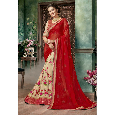 Triveni Chiffon Cream Festival Wear Embroidered Half n Half Lehenga Saree