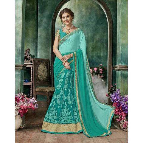 Triveni Chiffon Green Festival Wear Embroidered Half n Half Lehenga Saree