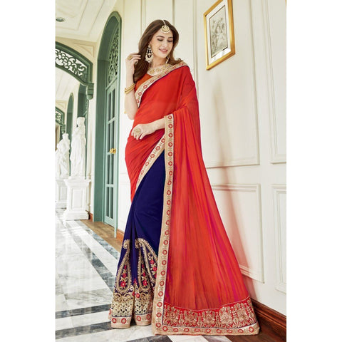 Triveni Faux Georgette Blue Party Wear Embroidered Traditional Sarees