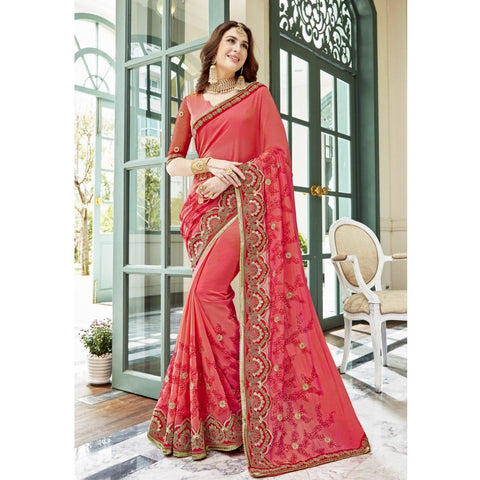 Triveni Faux Georgette Orange Party Wear Embroidered Traditional Sarees