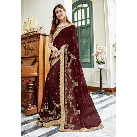 Triveni Faux Georgette Brown Party Wear Embroidered Traditional Sarees