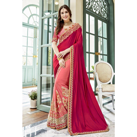 Triveni Faux Georgette Pink Party Wear Embroidered Traditional Sarees