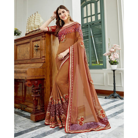 Triveni Faux Georgette Beige Party Wear Embroidered Traditional Sarees