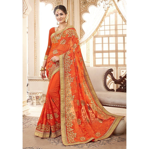 Triveni Faux Georgette Orange Festival Wear Embroidered Traditional Sarees