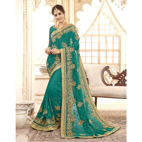 Triveni Faux Georgette Green Festival Wear Embroidered Traditional Sarees