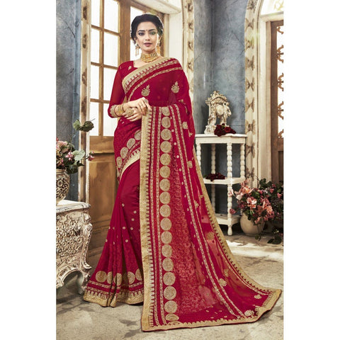 Triveni Faux Georgette Pink Festival Wear Embroidered Traditional Sarees
