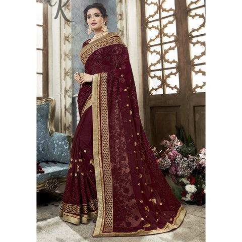 Triveni Faux Georgette Brown Festival Wear Embroidered Traditional Sarees