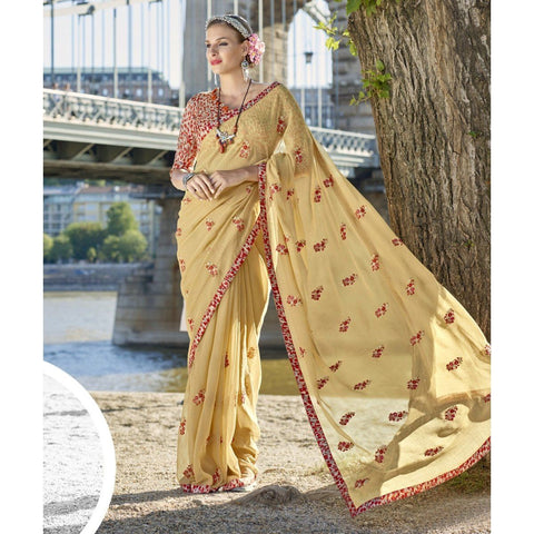 Triveni Faux Georgette Beige Officewear Embroidered Traditional Sarees
