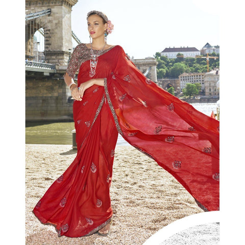 Triveni Chiffon Red Officewear Embroidered Traditional Sarees