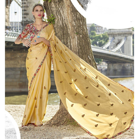 Triveni Chiffon Beige Officewear Embroidered Traditional Sarees
