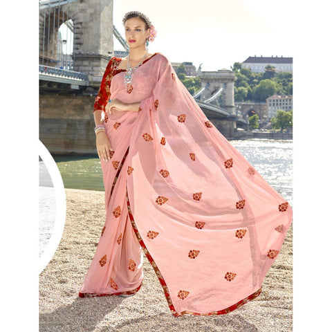 Triveni Chiffon Orange Officewear Embroidered Traditional Sarees