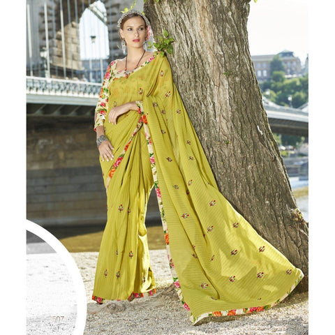 Triveni Faux Georgette Green Officewear Embroidered Traditional Sarees