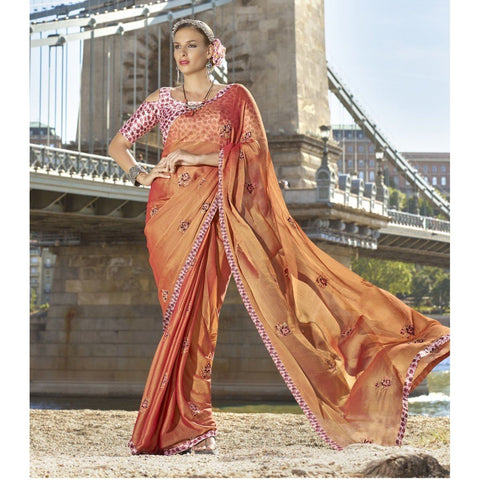 Triveni Chiffon Orange Festival Wear Embroidered Traditional Sarees