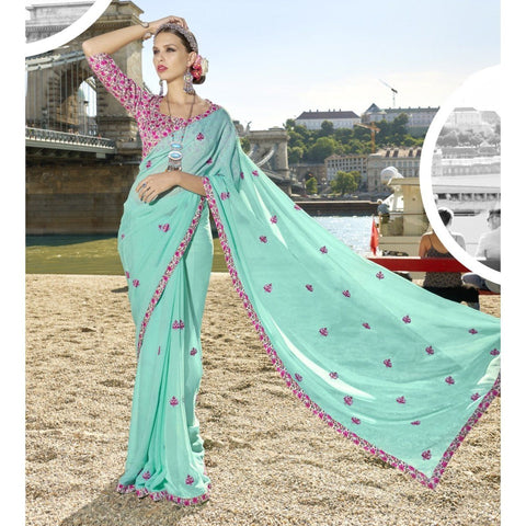 Triveni Chiffon Blue Officewear Embroidered Traditional Sarees