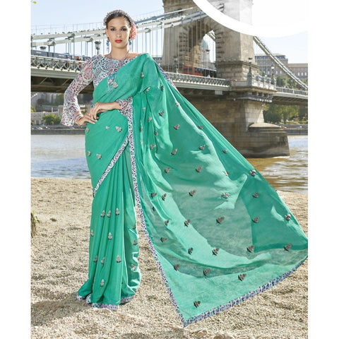 Triveni Chiffon Green Officewear Embroidered Traditional Sarees