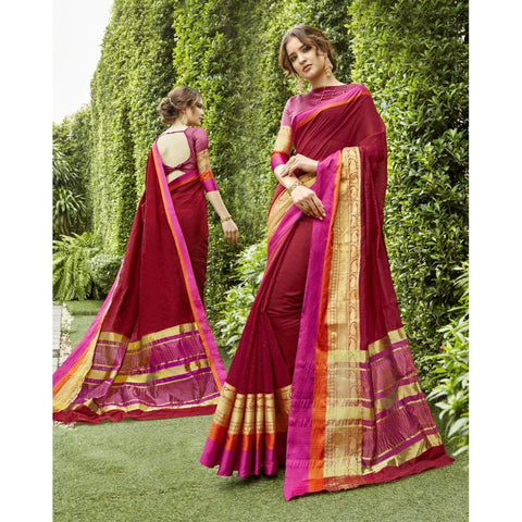 Triveni Blended Cotton Maroon Festival Wear Woven Traditional Sarees