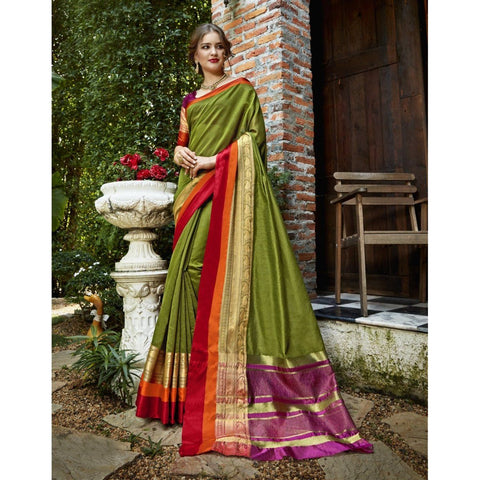 Triveni Blended Cotton Green Festival Wear Woven Traditional Sarees