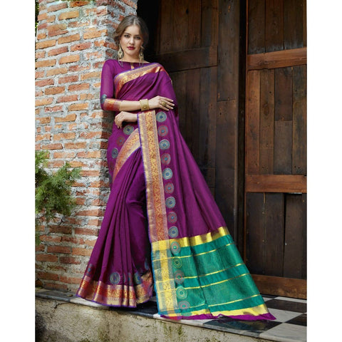 Triveni Blended Cotton Purple Festival Wear Woven Traditional Sarees