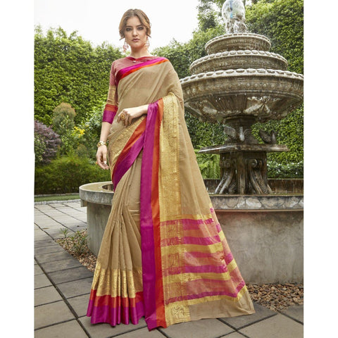 Triveni Blended Cotton Golden Festival Wear Woven Traditional Sarees