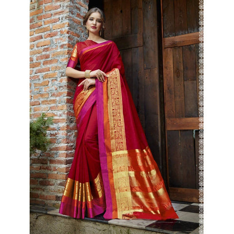 Triveni Blended Cotton Red Festival Wear Woven Traditional Sarees