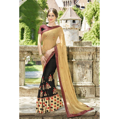 Triveni Faux Georgette Black Festival Wear Embroidered Half n Half Sarees