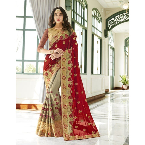 Triveni Chiffon Beige Party Wear Embroidered Half n Half Sarees