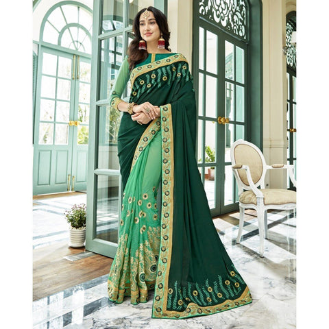Triveni Georgette Green Party Wear Embroidered Half n Half Sarees